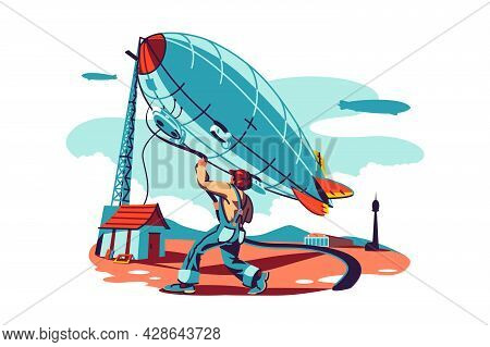 Man Trying Controls Airship Vector Illustration. Dirigible Flying In Sky. Retro Zeppelin Flight Flat