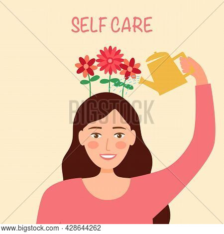 Self Care Or Self Compassion Concept Vector Illustration. Mental Health Or Psychological Therapy. Wo
