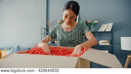 Happy Beautiful Asia Lady Unboxing Cardboard Delivery Package From Online Marketplace In Living Room