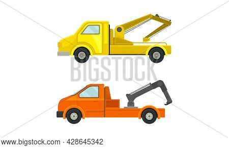 Tow Truck Or Wrecker As Lorry Moving Disabled Or Improperly Parked Motor Vehicle Vector Set