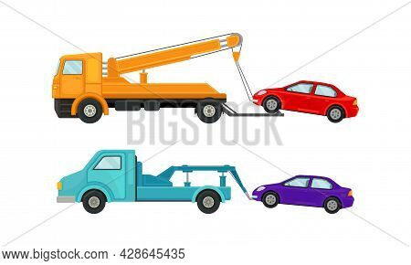 Tow Truck Or Wrecker Moving Disabled Or Improperly Parked Motor Vehicle Vector Set