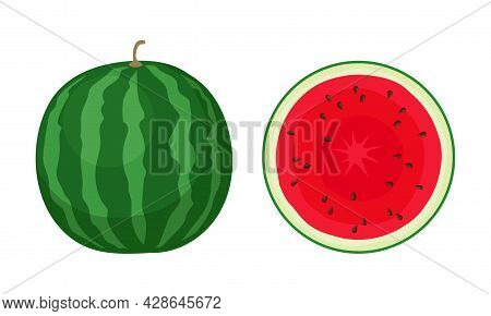 Fresh And Juicy Whole Watermelon Fruit With Red Flesh And Black Seeds Vector Set