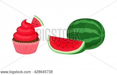 Fresh And Juicy Watermelon Fruit With Red Flesh And Black Seeds And Cupcake Dessert Vector Set