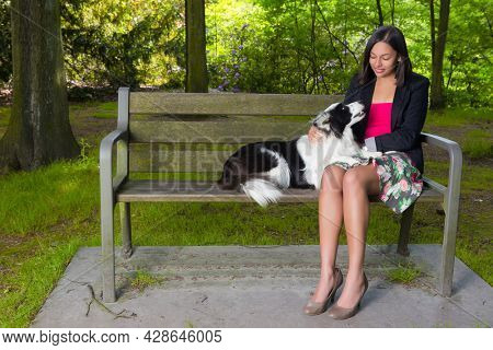 Young woman in the park sitting on a wooden bench with her border collie dog