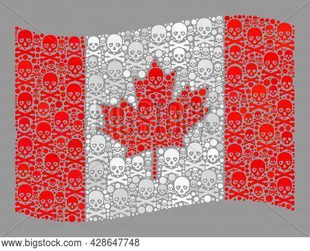 Mosaic Waving Canada Flag Designed With Skull Items. Hazard Vector Waving Mosaic Canada Flag Organiz