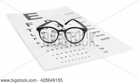 Eye Chart Test And Glasses On White Background. Ophthalmologist Tools