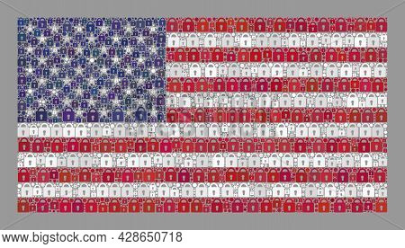Mosaic Locked Usa Flag Constructed Of Lock Items. Vector Mosaic Rectangle Usa Flag Designed For Safe