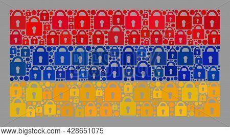Mosaic Protection Armenia Flag Constructed Of Lock Items. Vector Mosaic Rectangle Armenia Flag Combi