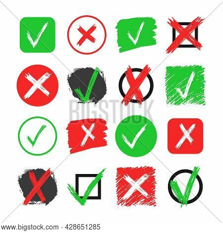 Set Of Sixteen Hand Drawn Check And Cross Sign Elements Isolated On White Background. Grunge Doodle