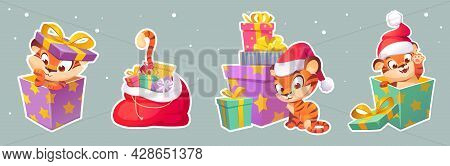 Set Of Stickers New Year Tiger In Santa Hat, 2022 Chinese Zodiac Symbol. Wild Cute Kitten, Baby Pred
