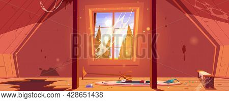 Old Attic In Abandoned House With Mountains And Trees Behind Window. Vector Cartoon Interior Of Garr