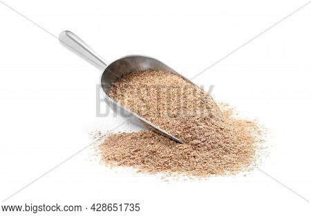 Metal Scoop With Wheat Bran On White Background