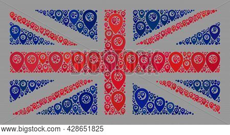Mosaic Guide Great Britain Flag Created With Place Items. Vector Collage Straight Great Britain Flag