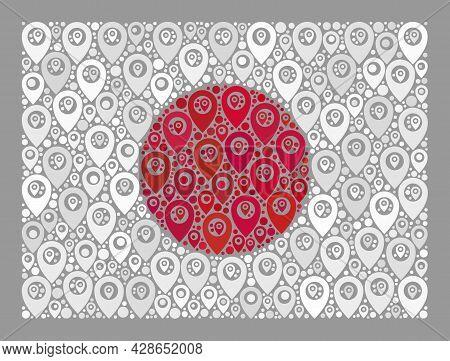Mosaic Navigation Japan Flag Designed Of Marker Icons. Vector Collage Rectangular Japan Flag Constru