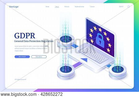 Gdpr, General Data Protection Regulation Isometric Landing Page. Law Of Information Privacy In Europ