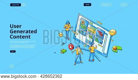 User Generated Content Isometric Landing Page, Tiny People Around Of Huge Computer Desktop With Grap