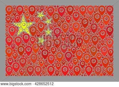 Mosaic Pointer China Flag Designed With Geotargeting Elements. Vector Mosaic Straight China Flag Don