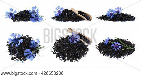 Set With Dried Cornflower Tea And Fresh Flowers On White Background. Banner Design