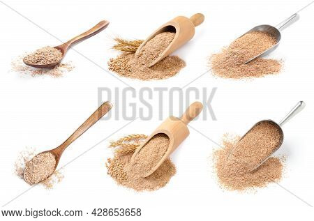 Set With Wheat Bran On White Background