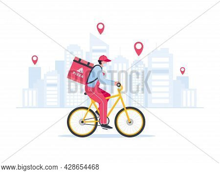 Fast Delivery. Courier On Bicycle With Parcel Box On The Back Delivering Food In City.