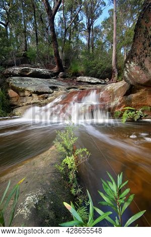 A Large Waterfall In A Forest Near Pearl Beach On Nsw Central Coast