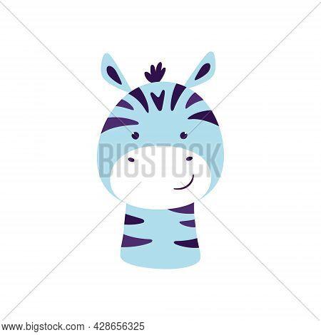 Cute Zebra. Animal Kawaii Character. Funny Little Zebra Face. Vector Hand Drawn Illustration Isolate