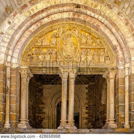 View At The Portal Of Church Of Saint Pierre In Carennac - France