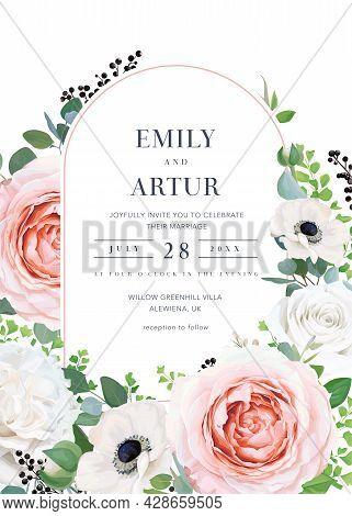 Modern Elegant Vector Floral Wedding Invitation, Invite, Save The Date Card. Blush Pink, Peach, Ivor