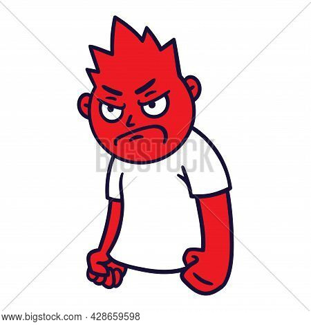 Man With Angry Emotion. Mad Emoji Avatar. Portrait Of A Grumpy Person. Cartoon Style. Flat Design Ve