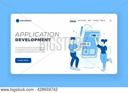 Development Of Mobile Applications. Online Software For User. Programmers Customize User Friendly In