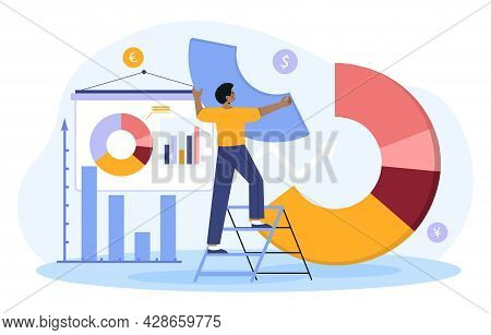 Male Investor Or Financial Planner Standing On Ladder To Arrange Pie Chart As Rebalancing Investment