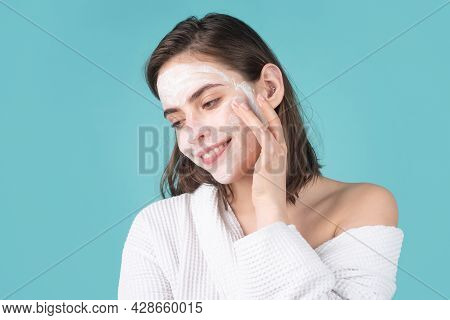 Woman Facial Mask, Face Clay. Beautiful Young Woman With Cosmetic Facial Procedure, Spa Skin Concept