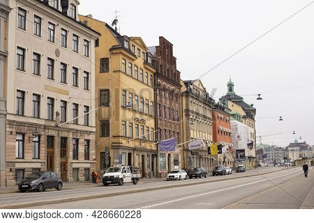 Stockholm, Sweden September- 24, 2017: Colorful Houses On Stortorget Square In The Old Town Gamla St