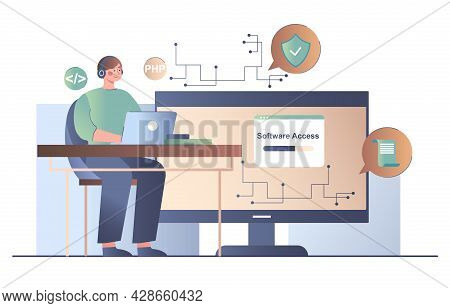 Male Character Is Working On Back End Development On Computer. Concept Of Software Development Proce