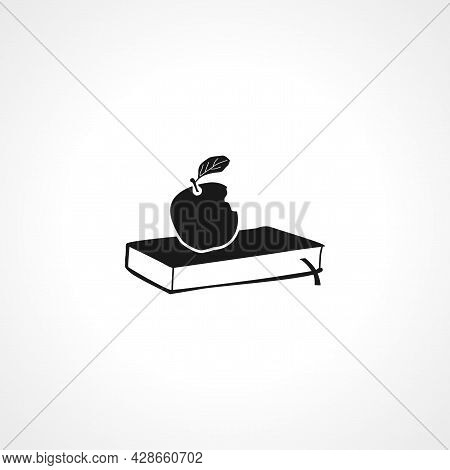 Book Icon. Aple On Book Simple Vector Icon. Aple On Book Isolated Icon.