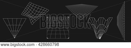 Set Of Retrofuturistic Perspective Grids. Cyber Design Elements. Collection Of Grids In Cyberpunk 80