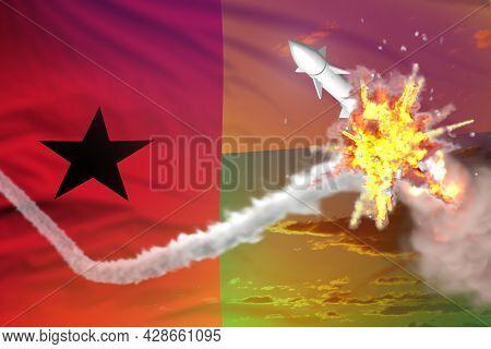 Guinea-bissau Intercepted Supersonic Warhead, Modern Antirocket Destroys Enemy Missile Concept, Mili