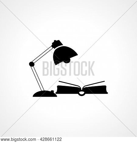 Table Lamp And Book Icon. Lamp And Book Simple Vector Icon. Table Lamp Isolated Icon.