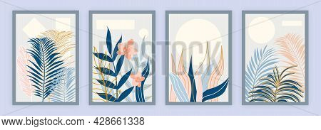 Set Of Botanical Floral Wall Arts Collection. Pattern Design With Leaves Line Arts. Hand Draw Organi