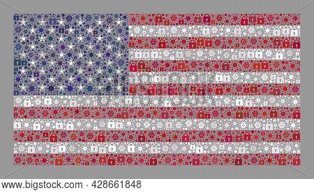 Mosaic Coronavirus Lockdown Usa Flag Designed Of Locks And Covid Items. Vector Mosaic Straight Usa F