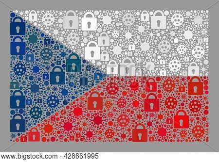 Mosaic Covid Lockdown Czech Flag Constructed With Locks And Covid-2019 Elements. Vector Collage Stra