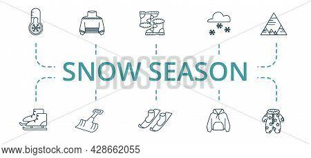 Snow Season Icon Set. Contains Editable Icons Theme Such As Winter Shovel, Snow Boot, Anorak Vest An