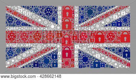 Mosaic Covid Lockdown United Kingdom Flag Designed Of Locks And Covid Items. Vector Mosaic Rectangle