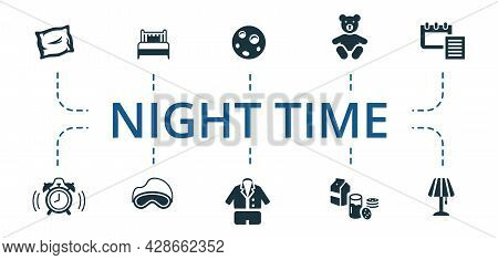 Night Time Icon Set. Contains Editable Icons Theme Such As Sleep Mask, Pajamas, Milk And Cookies And
