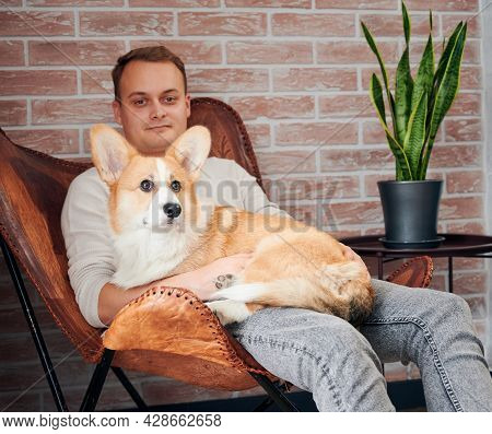 Close Up Of Handsome Young Man Sitting On Chair With Cute Pet With Big Ears At Modern Home. Concept