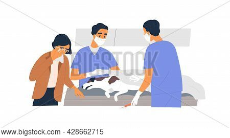 Euthanasia And Death Of Incurable Dog. Veterinarians Failed To Save Life. Owner In Grief Near Dead P