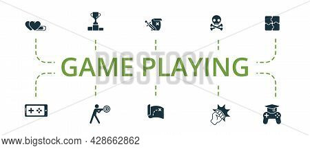 Game Playing Icon Set. Contains Editable Icons Theme Such As Sport Games, Adventures, Game Over And