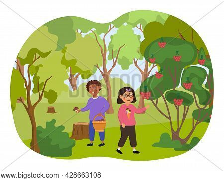 Two Little Kids Are Walking Collecting Mushrooms And Berries In The Forest. Concept Of Forest School