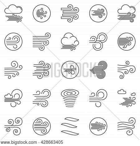 Wind Outline Vector Icons Set. Breeze Concept Line Symbols