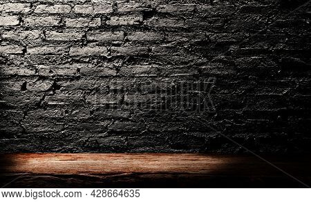 Empty Space Of Wooden Table With Concrete Brick Wall Grunge Texture Background.